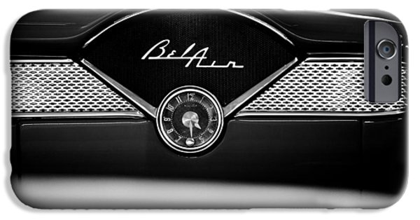 Old Cars iPhone Cases - 1955 Chevy Bel Air Glow Compartment in Black and White iPhone Case by Sebastian Musial