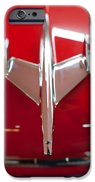Old Cars iPhone Cases - 1955 Chevy Belair Hood Ornament iPhone Case by Sebastian Musial