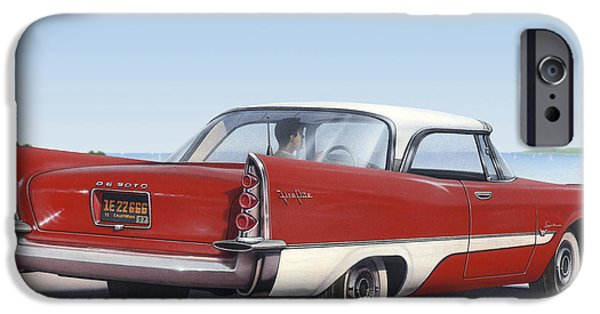 Airbrush iPhone Cases - 1957 De Soto car nostalgic rustic americana antique car painting red  iPhone Case by Walt Curlee