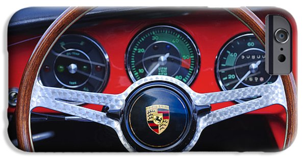 Steering iPhone Cases - 1964 Porsche C Steering Wheel iPhone Case by Jill Reger
