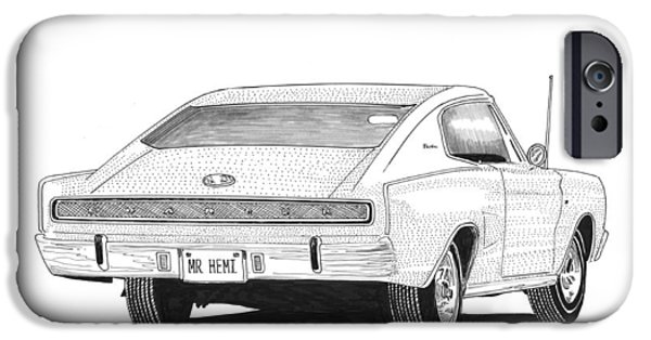 Pen And Ink Framed Prints iPhone Cases - 1966 Dodge Charger iPhone Case by Jack Pumphrey