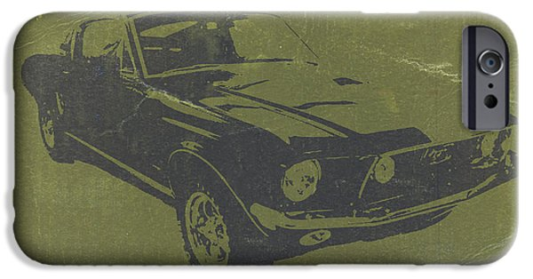 Concept Cars iPhone Cases - 1968 Ford Mustang iPhone Case by Naxart Studio