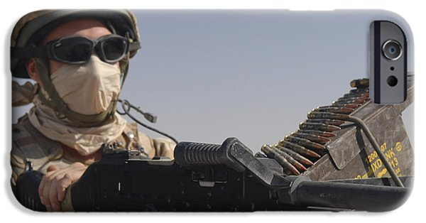 Fed iPhone Cases - A British Army Soldier Mans A Machine iPhone Case by Andrew Chittock