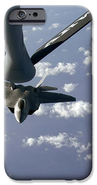 A Three Ship Formation Of F-22 Raptors iPhone Case by Stocktrek Images