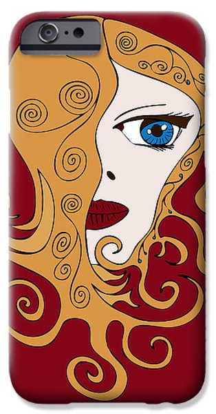 Manga iPhone Cases - A Woman iPhone Case by Frank Tschakert