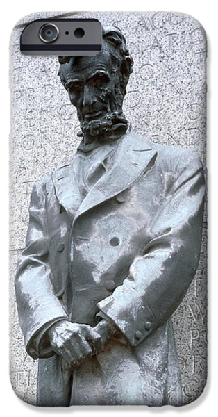 Statue Portrait iPhone Cases - Abraham Lincoln Statue iPhone Case by Granger