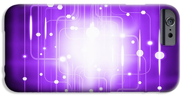 Sparks iPhone Cases - Abstract Circuit Board Lighting Effect  iPhone Case by Setsiri Silapasuwanchai