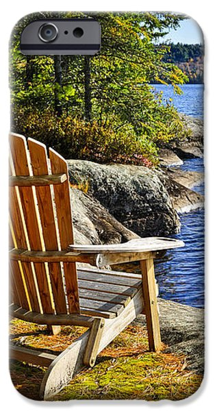 Adirondack chairs at lake shore iPhone Case by Elena Elisseeva