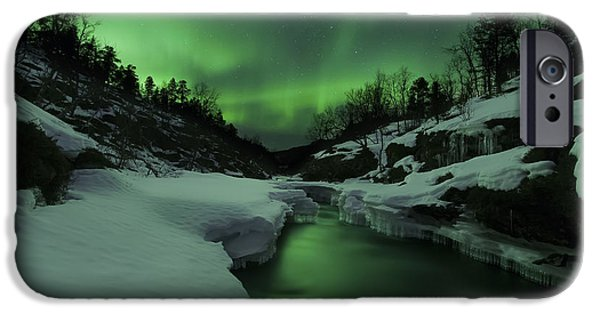 Landscape In Norway iPhone Cases - Aurora Borealis Over Tennevik River iPhone Case by Arild Heitmann