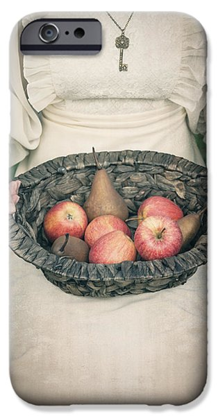 Pears iPhone Cases - Basket With Fruits iPhone Case by Joana Kruse