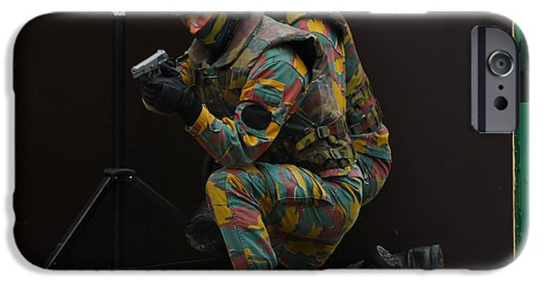Components iPhone Cases - Belgian Paracommandos Entering iPhone Case by Luc De Jaeger
