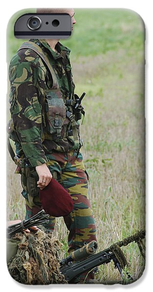 Belgian Paratroopers Red Berets iPhone Case by Luc De Jaeger