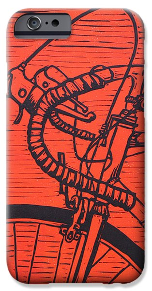 Lino Drawings iPhone Cases - Bike 2 iPhone Case by William Cauthern
