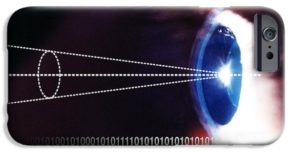 Civil Liberties iPhone Cases - Biometric Eye Scan iPhone Case by Pasieka