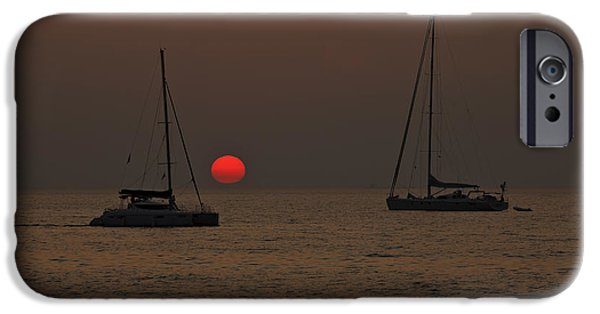 Mast iPhone Cases - Boats In The Sunset iPhone Case by Joana Kruse