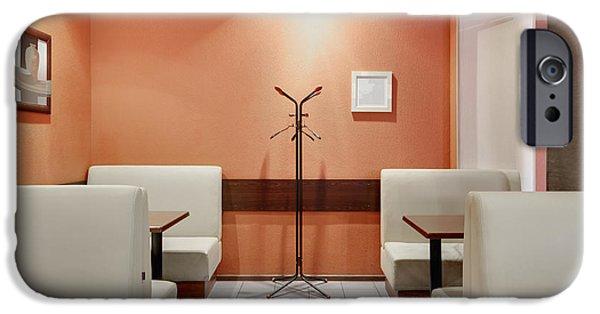 Coat Hanger iPhone Cases - Cafe Dining Room iPhone Case by Magomed Magomedagaev