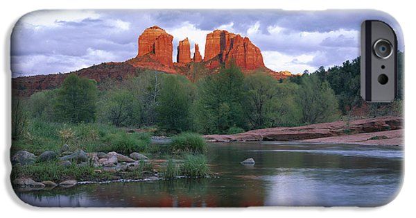 Oak Creek iPhone Cases - Cathedral Rock Reflected In Oak Creek iPhone Case by Tim Fitzharris