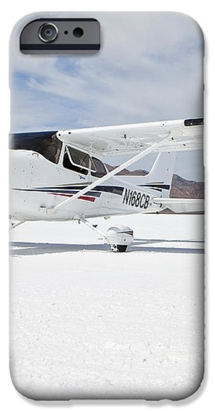 Cessna Aircraft On Bonneville Salt Flats iPhone Case by Paul Edmondson