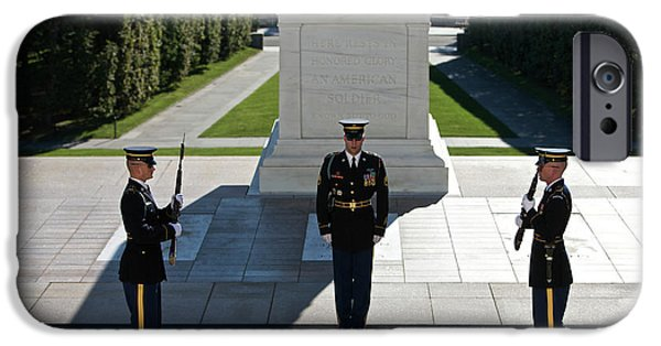 Patriotism iPhone Cases - Changing Of Guard At Arlington National iPhone Case by Terry Moore