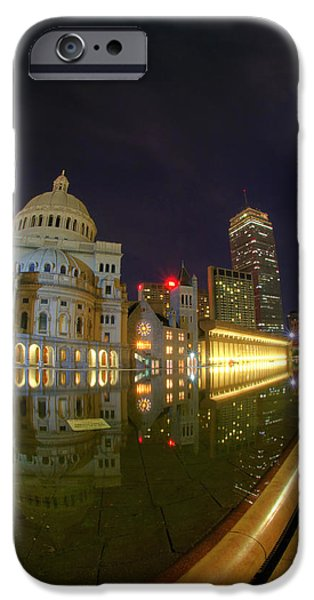 Boston Nightscape iPhone Cases - Christian Science Center-Boston iPhone Case by Joann Vitali