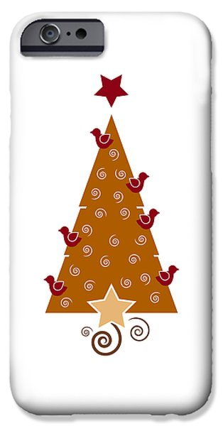 Season Drawings iPhone Cases - Christmas Tree iPhone Case by Frank Tschakert