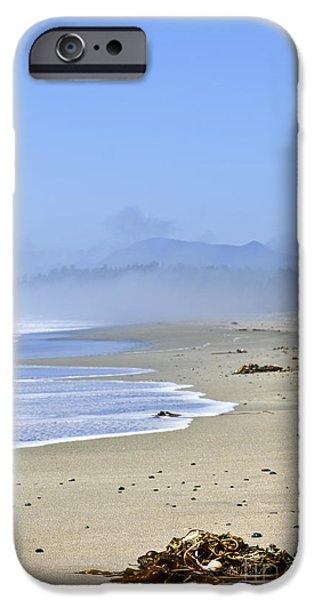 Fog Mist iPhone Cases - Coast of Pacific ocean in Canada iPhone Case by Elena Elisseeva