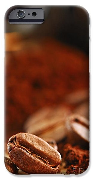 Still iPhone Cases - Coffee beans and ground coffee iPhone Case by Elena Elisseeva
