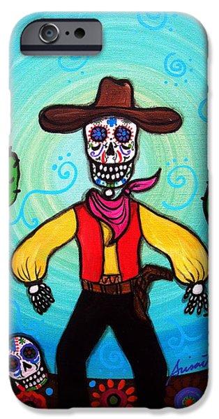 Carter Family iPhone Cases - Cowboy Dia De Los Muertos iPhone Case by Pristine Cartera Turkus