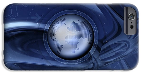 Best Sellers -  - Cyberspace iPhone Cases - Digitally Generated Image Of The World iPhone Case by Vlad Gerasimov