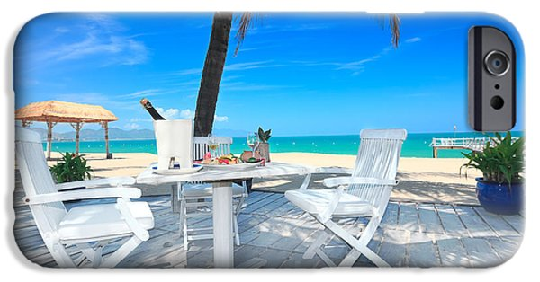 Table Wine iPhone Cases - Dinner on the beach iPhone Case by MotHaiBaPhoto Prints