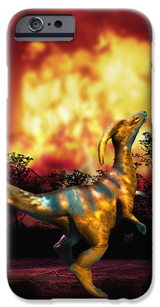 Palaeontology iPhone Cases - Dinosaur Extinction iPhone Case by Victor Habbick Visions