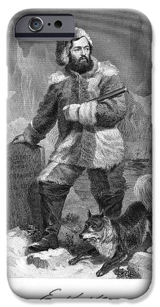 Arctic Dog iPhone Cases - Elisha Kent Kane (1820-1857) iPhone Case by Granger