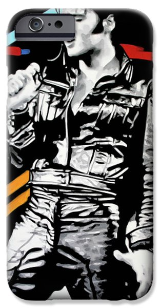 Ludzska Paintings iPhone Cases - Elvis iPhone Case by Luis Ludzska