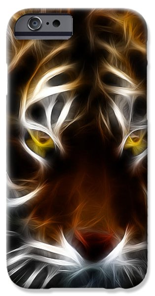 The Tiger Digital Art iPhone Cases - Eye of The Tiger iPhone Case by Wingsdomain Art and Photography