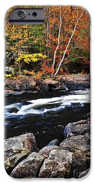 Fall forest and river landscape iPhone Case by Elena Elisseeva