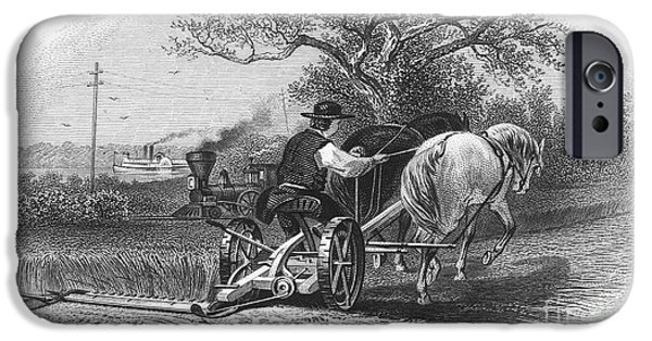 Mower iPhone Cases - FARMING, c1870 iPhone Case by Granger