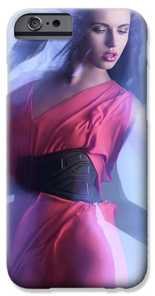 Glass Wall iPhone Cases - Fashion Photo of a Woman in Shining Blue Settings iPhone Case by Oleksiy Maksymenko