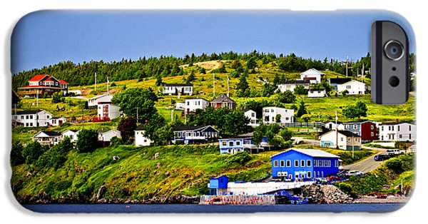 Port Town iPhone Cases - Fishing village in Newfoundland iPhone Case by Elena Elisseeva