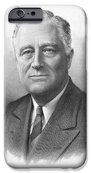 Democratic Party iPhone Cases - Franklin Delano Roosevelt iPhone Case by Granger