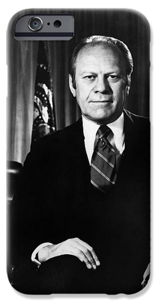 Oval Office iPhone Cases - Gerald R. Ford (1913-2006) iPhone Case by Granger