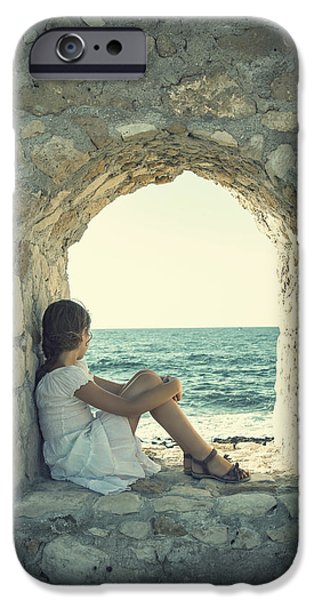 Contemplative iPhone Cases - Girl At The Sea iPhone Case by Joana Kruse