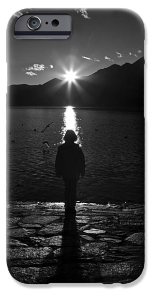 Ascona iPhone Cases - Girl With Sunset iPhone Case by Joana Kruse