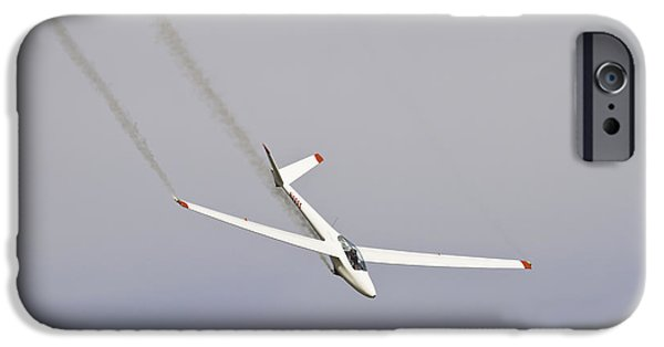 Glider iPhone Cases - Glider Flying Aerobatics At Airshow Canvas Photo Poster Print iPhone Case by Keith Webber Jr