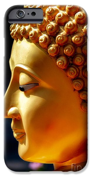 Ears Digital Art iPhone Cases - Golden Buddha iPhone Case by Adrian Evans
