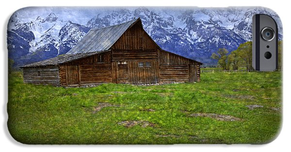 Pioneer Scene iPhone Cases - Grand Teton Iconic Mormon Barn Spring Storm Clouds iPhone Case by John Stephens