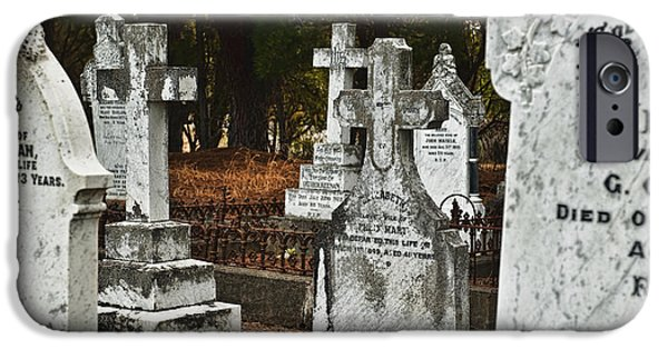 Final Resting Place Photographs iPhone Cases - Gravestones In Graveyard iPhone Case by Dave & Les Jacobs