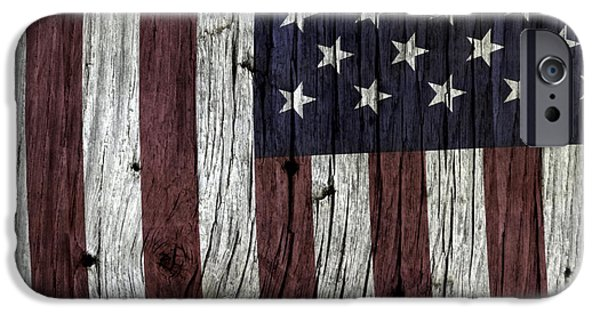 Fourth Of July iPhone Cases - Grungy Textured USA Flag iPhone Case by John Stephens