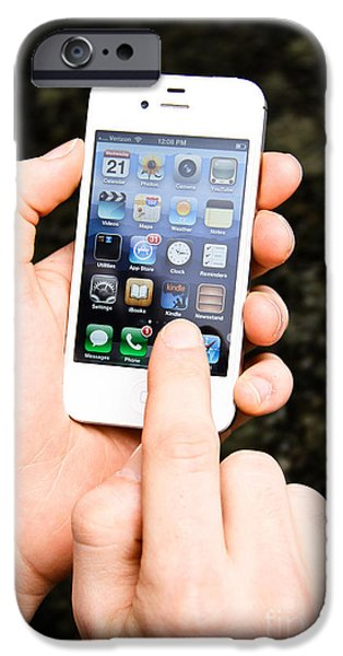 Hands Holding An Iphone iPhone Case by Photo Researchers, Inc.