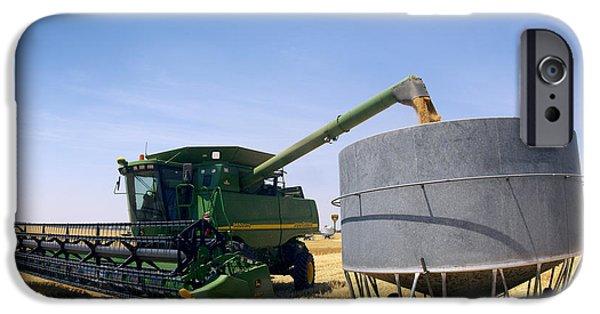 Combine Harvester iPhone Cases - Harvesting Grain iPhone Case by Jeremy Walker