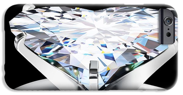 Color Image Jewelry iPhone Cases - Heart Diamond iPhone Case by Setsiri Silapasuwanchai